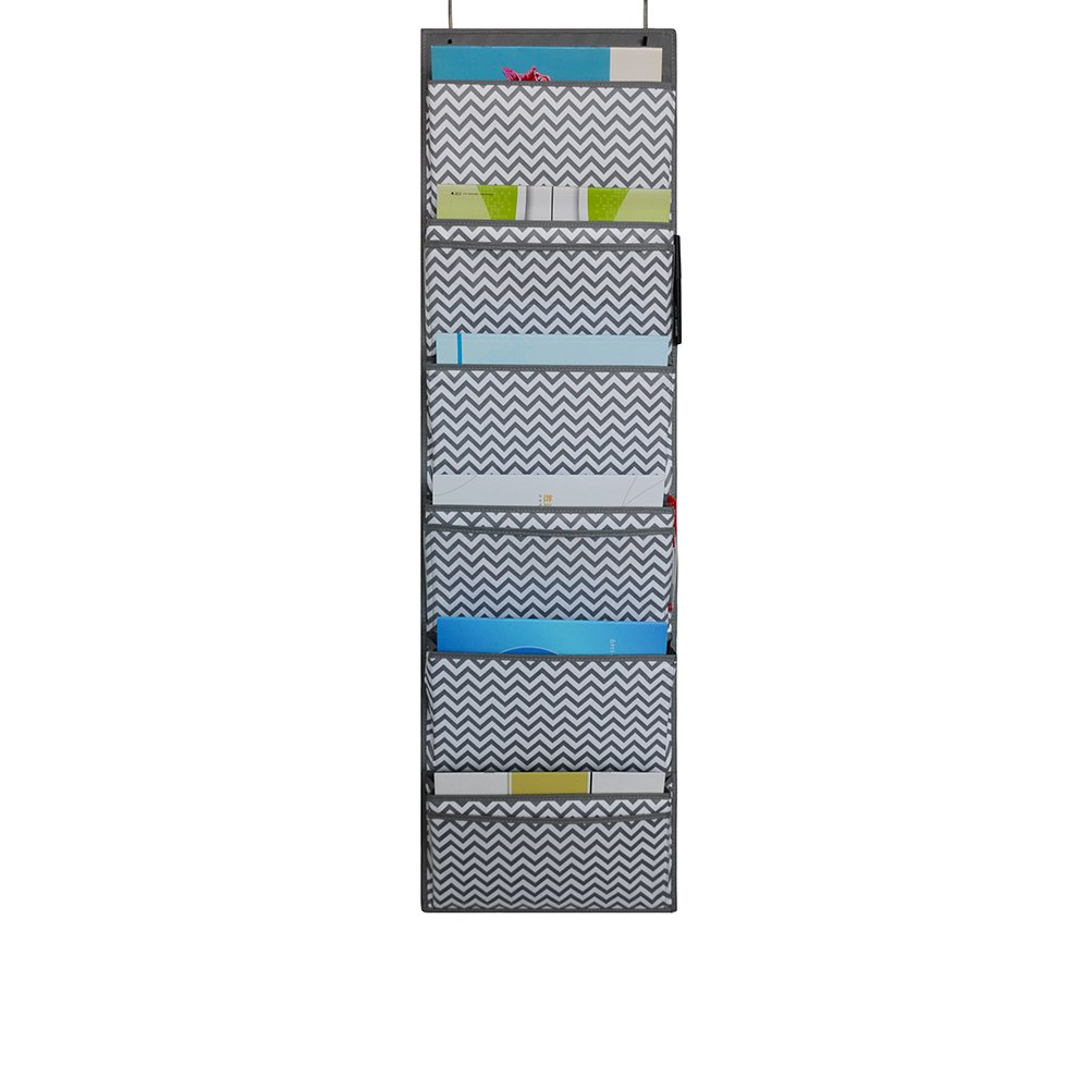 ZKOO Hanging Wall File Organizer with 2 over Door Hangers, Cascading File Organizer for Home, Business, Clothing, and School Organizers (grey)