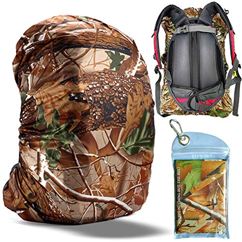 Gryps Waterproof Backpack Rain Cover with Adjustable Anti Slip Buckle Strap & Sliver Coating Reinforced Inner Layer, 50-60L(Jungle Camouflage)