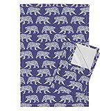 Roostery Geometric Polar Bear Purple Bear Arctic Animal Kids Tea Towels Geometric Polar Bear - Purple by Charlottewinter Set of 2 Linen Cotton Tea Towels