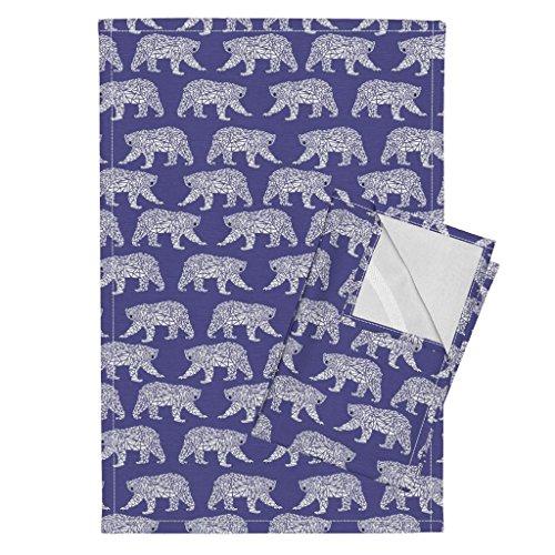 Roostery Geometric Polar Bear Purple Bear Arctic Animal Kids Tea Towels Geometric Polar Bear - Purple by Charlottewinter Set of 2 Linen Cotton Tea Towels by Roostery