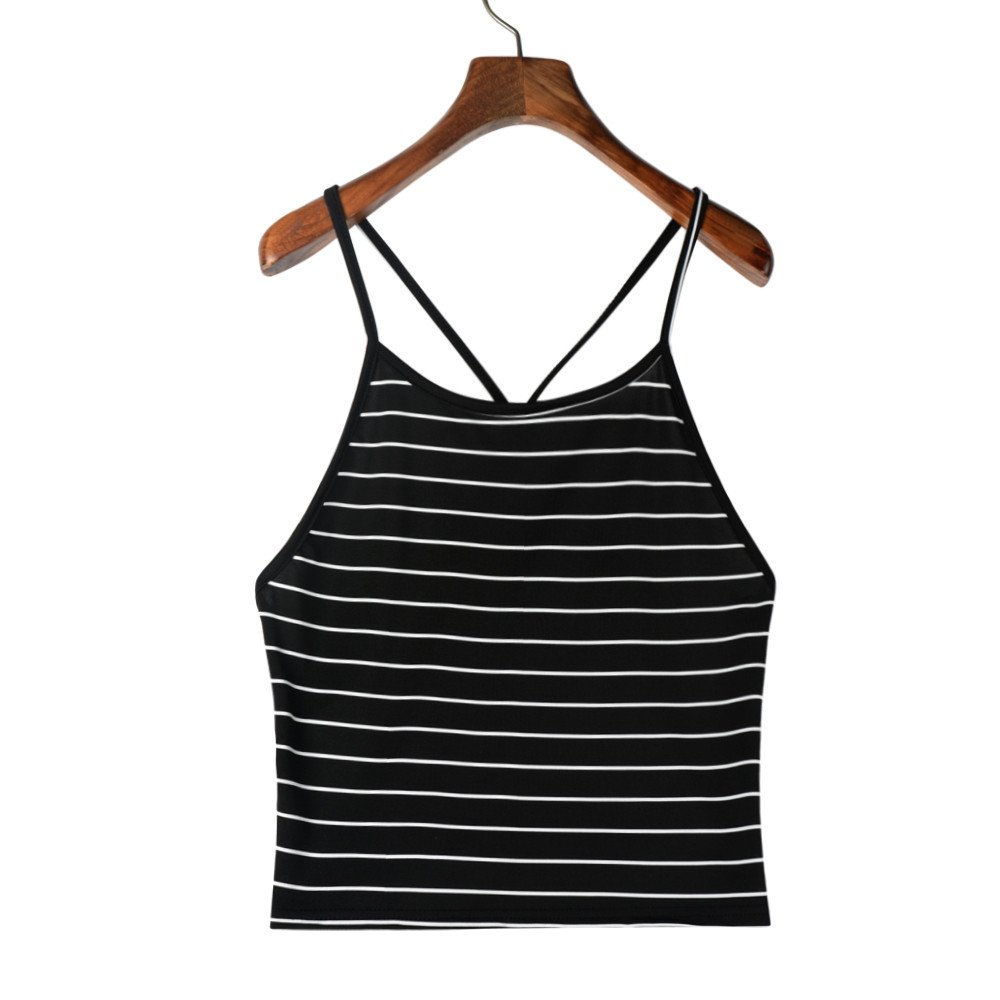 Womens Crop Tops Sleeveless Striped Tank Top T-Shirt Camisoles Bustier Fashion Short Casual Camis Blouse Black