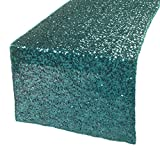 Kevin Textile Decoration Rectangular Sequins Table Cloth/Tablecloth/Topper for Holidays/Wedding 14''x108'', Teal