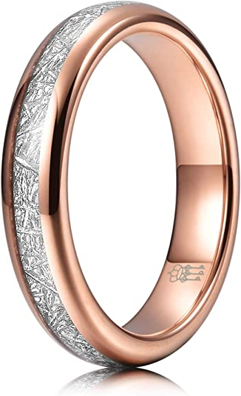 THREE KEYS JEWELRY 2mm 4mm 6mm 8mm Rose Gold Tungsten Ring Brushed Wedding Band Engagement Ring Unisex
