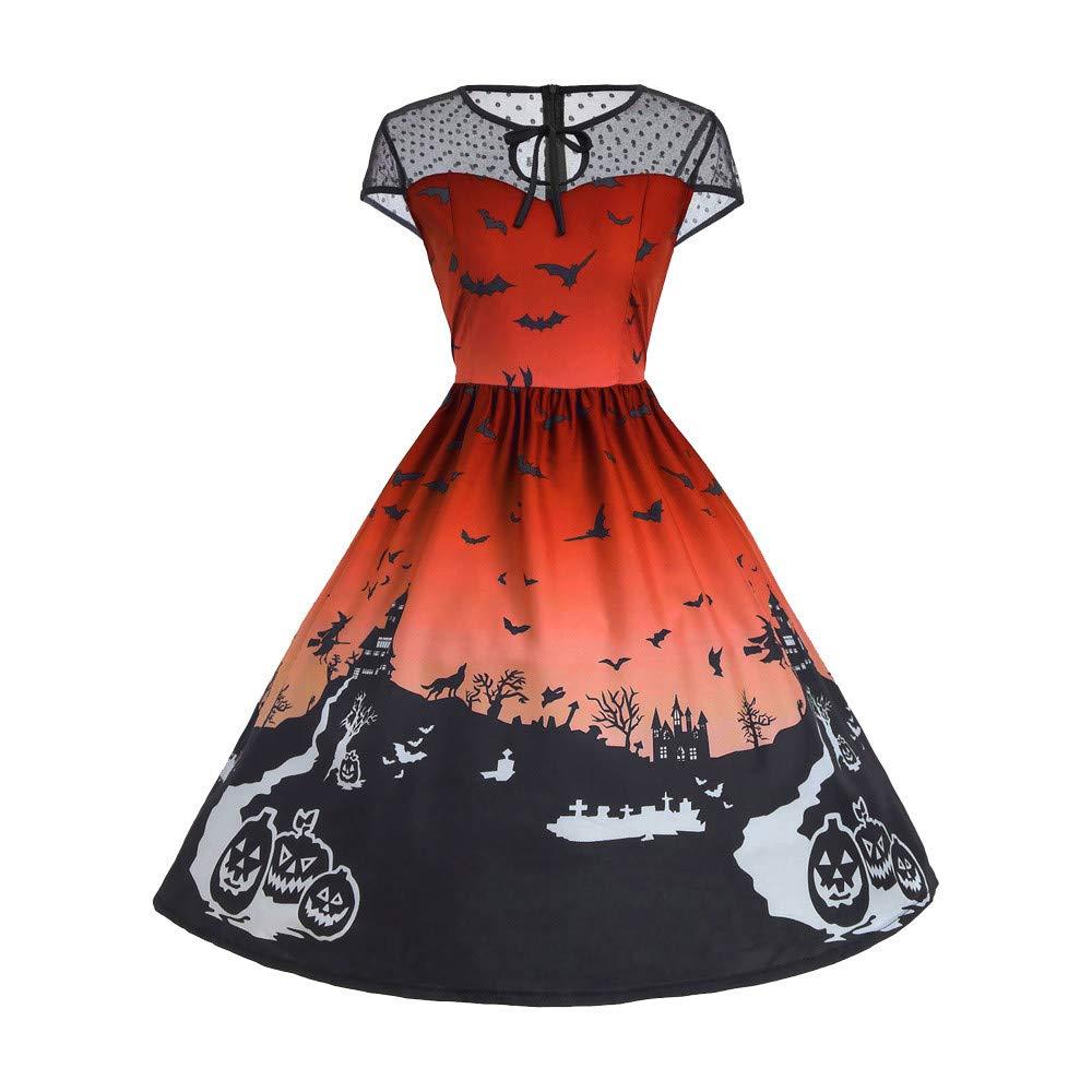 kaifongfu Ladies Panel Dress,Vintage Halloween Print Mesh Sleeveless Party Dress(Orange,L)