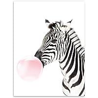 Mariposa hierro Zebra soplando burbujas arte moderno pared lona de Pared Pintura Decorativa para Decoración del hogar