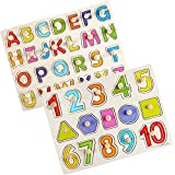 Puzzles for Toddlers, 2 Piece Premium Wooden Peg Puzzle Set for Kids - Alphabet, Numbers + Shapes Puzzle Toy - Perfect Pegged Knob Puzzles for Kids Toddlers Ages 3+