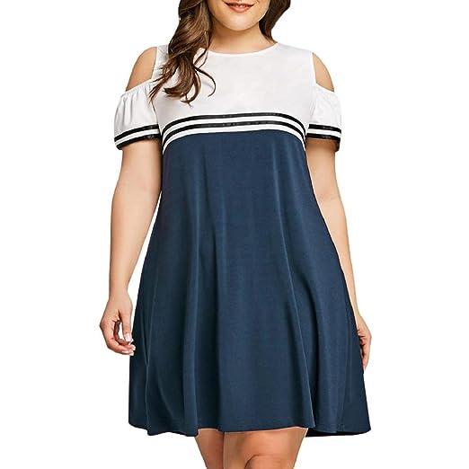 85002bed017 ShenPourter_Women Dress Plus Size Women's Cold Shoulder Stripe Stitching  Short Sleeve Tank Tops T-Shirt