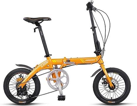 8haowenju Bicicleta Plegable, Adulto Ultraligero y Hombres, 16 Pulgadas-7 de Velocidad, aleación de Aluminio, Mini Bicicleta pequeña, para la Familia o el Ocio al Aire Libre: Amazon.es: Deportes y aire libre