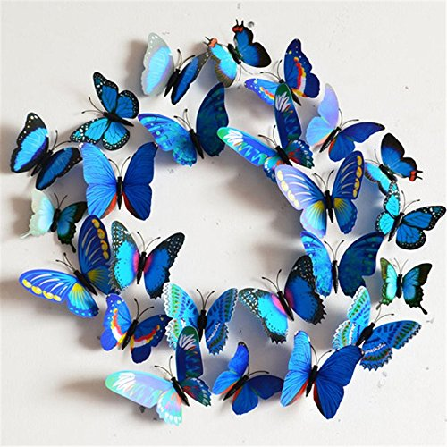 Margoth 24Pcs Home Decoration poster DIY 3D Butterfly Wall Stickers Creative Colorful Blue wall decor hot sale