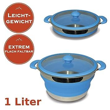 sp/ülmaschinenfest MINIMALES Gewicht Faltbarer Leichtgewichtstopf 3 Liter MINIMALES Packma/ß Camping Kochtopf aus Metall und Silikon