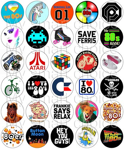 (30 x Edible Cupcake Toppers – 80's Retro Party Themed Collection of Edible Cake Decorations | Uncut Edible Prints on Wafer)