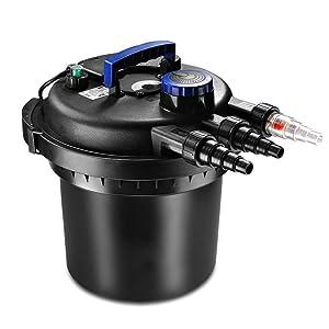 Flexzion Pond Pressure Bio Filter with Ultraviolet UV Sterilizer Light Bulb System Koi Fish Aquarium Tank Water Cleaning Supply Equipment
