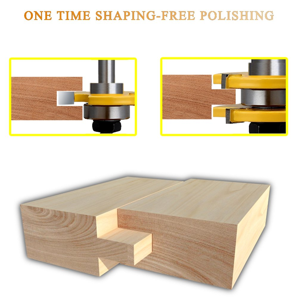 DanziX Tongue and Groove Router Bit Set of 2, Wood Door Flooring 3-Teeth T-Shape Adjustable, 1/2 Inch Shank Woodworking Milling Saw Cutter Tool + 2PCS 5FT Soft Tape Measure Ruler for Sewing Tailor by DanziX (Image #3)