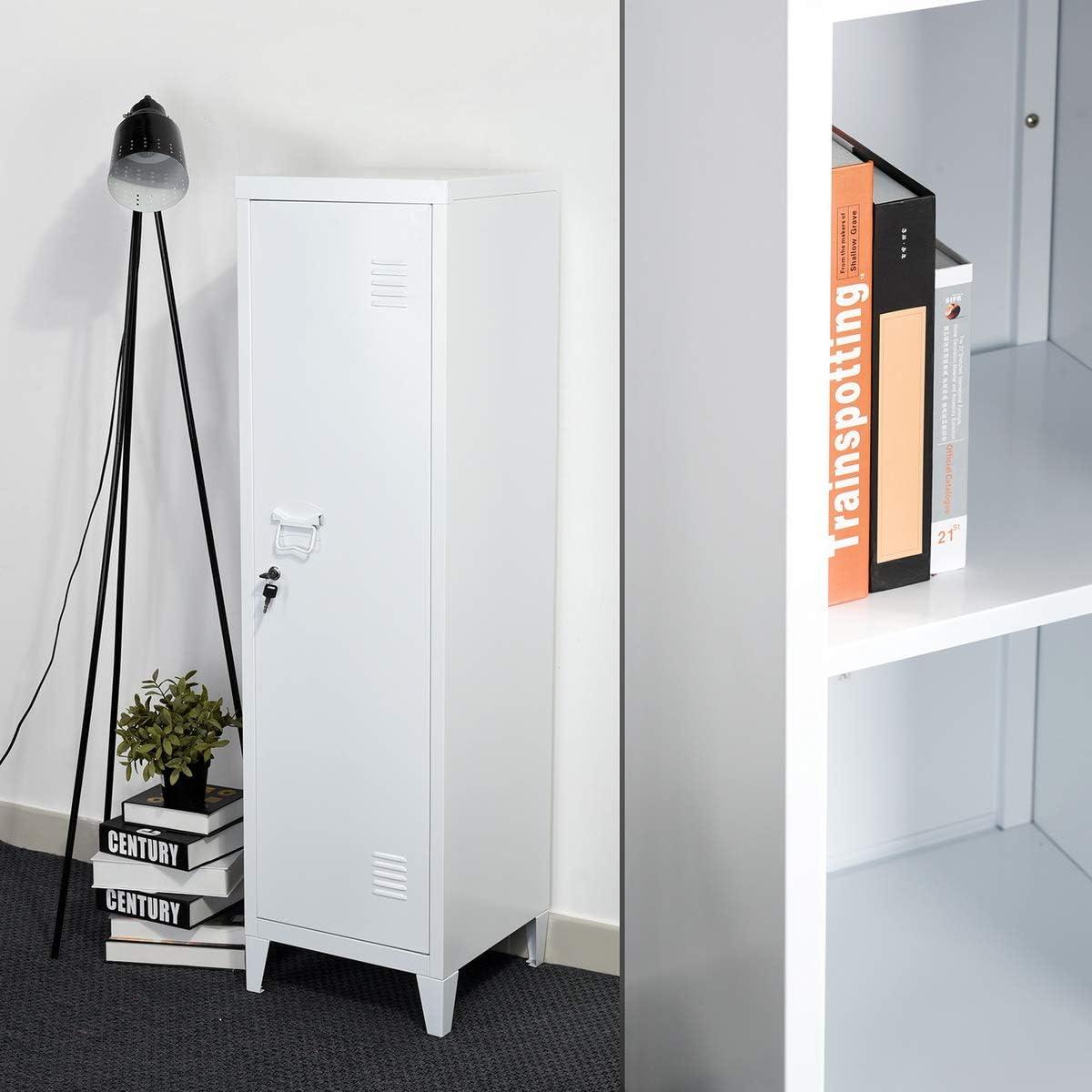 ufficio Furniture-R France spogliatoio per soggiorno armadietto da pavimento Armadietto portadocumenti in metallo con armadietto bianco