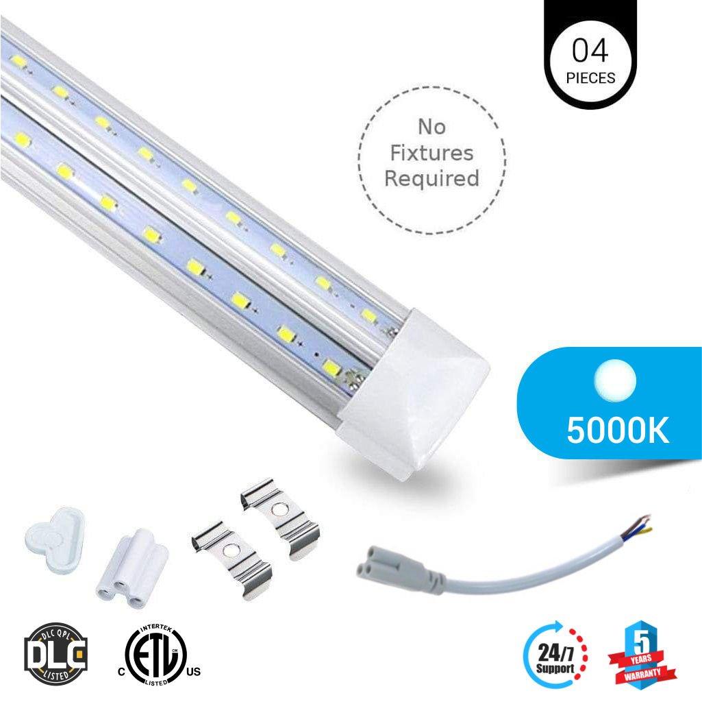 4-PACK T8 8ft V Shape LED tube 60w Integrated 5000k clear 7800 lumens Rebate Eligible