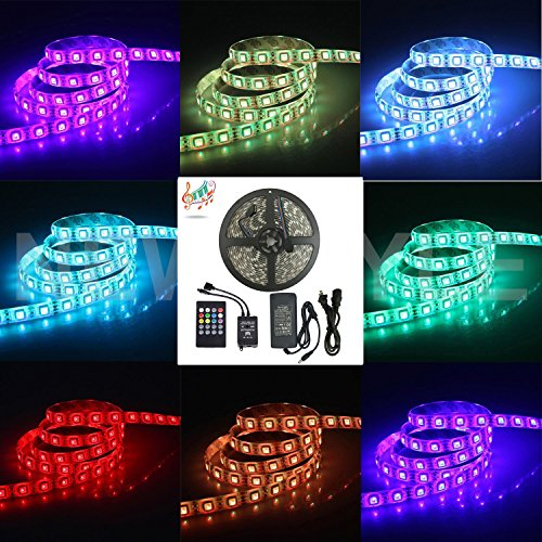 61a7kfRa4KL Amazon Books - Music Controlled LED Strip Light, SurLight Waterproof 16.4ft/5M 300LEDs RGB SMD5050 Flexible Color Changing Light Strip Kit with 20 Key IR Music Controller & 12V 5A Power Supply for Indoor Outdoor Use #Amazon #Books