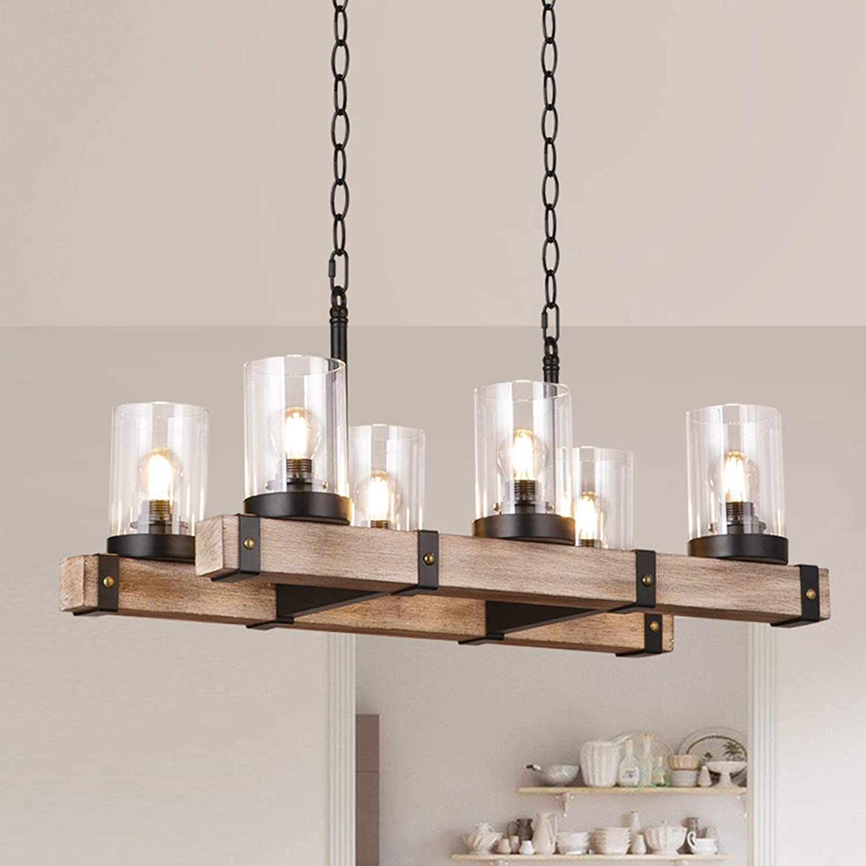 Wooden Farmhouse Kitchen Island Lighting, Industrial Hanging Pendant Light Fixtures for Kitchen Farmhouse, Bar, Dinning Room (6 Light)