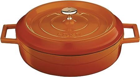 Lava Signature Enameled Cast-Iron Multi-Purpose Braiser Oven – 2-1 2 Quart, Orange Spice