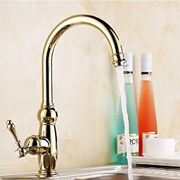 Amazon Com Hyun Times Gold Kitchen Faucet Hot And Cold European