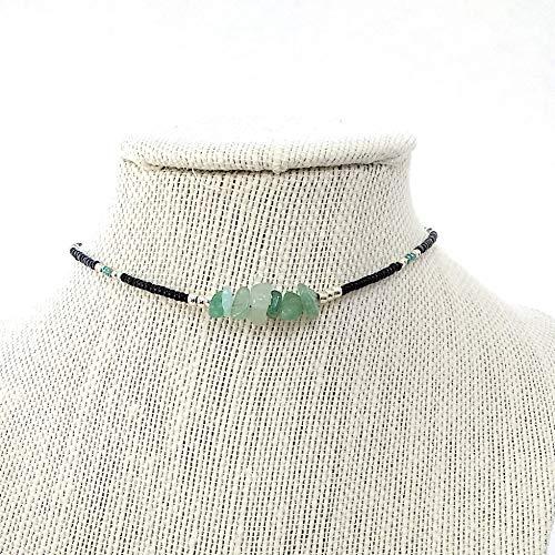 Handmade Jade Aventurine Chip Seed Bead Choker Necklace Adjustable 12 to 16 Inches