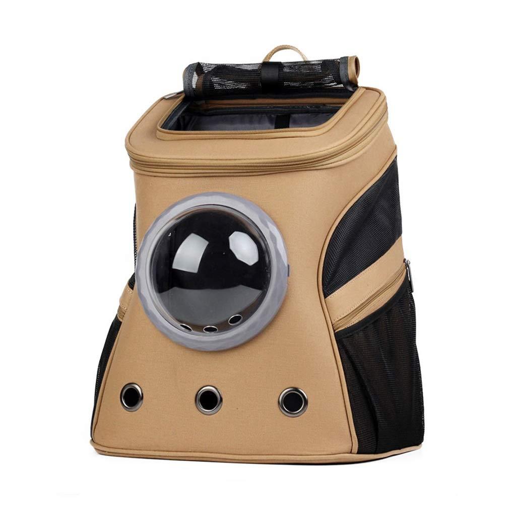 Brown LSLMCS Portable Pet Bag, Shoulder Space Capsule Portable With Cat, Dog Portable Pet Bag Suitcase Big Backpack For excursions (color   Brown)