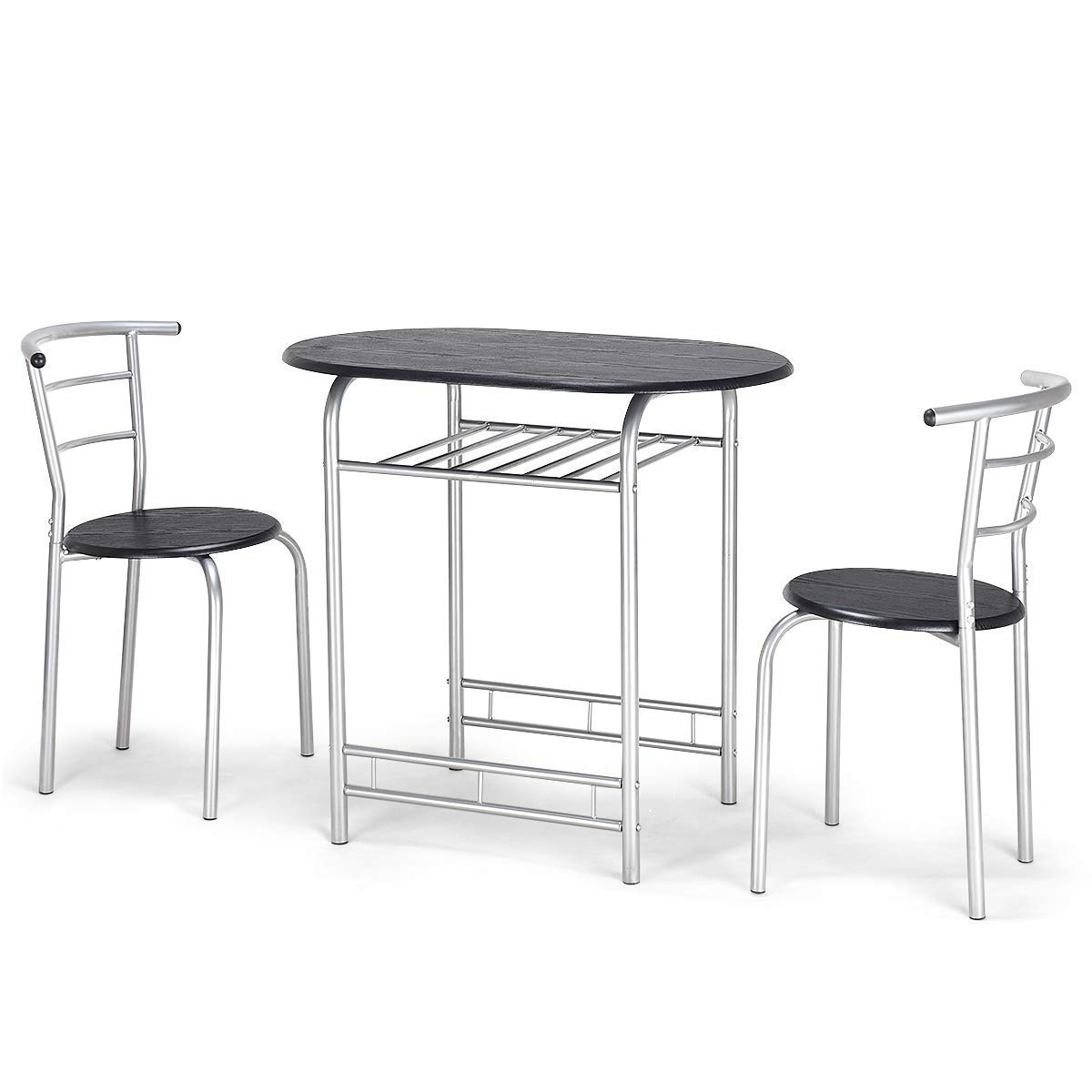 Giantex 3 PCS Bistro Dining Set Table and 2 Chairs Kitchen Furniture Pub Home Restaurant Table Chair Sets (Black)