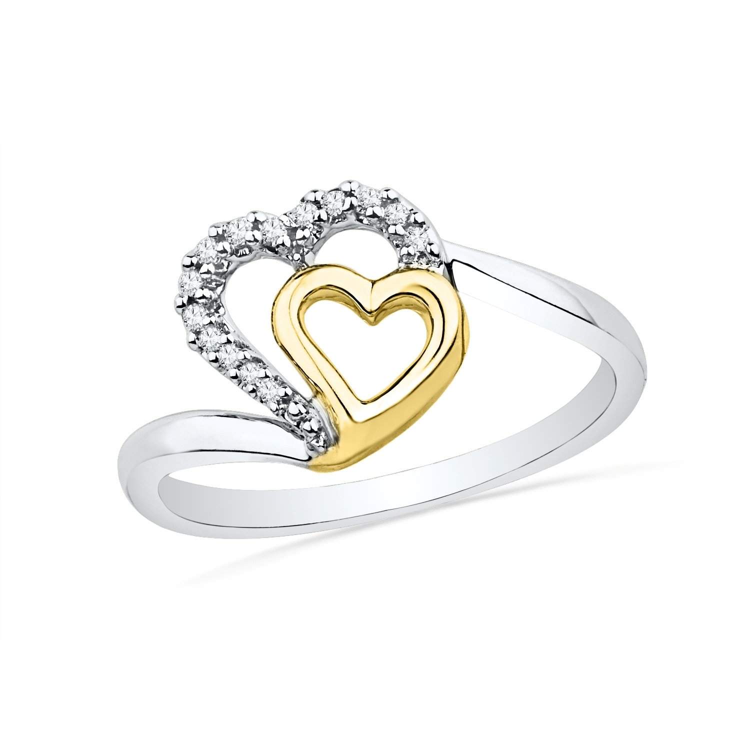 Look Like Two Tone Sterling Silver Round Diamond Heart Ring (1/20 Cttw)