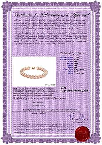 Rose 7-8mm AA-qualité perles d'eau douce 375/1000 Or Jaune-Bracelet de perles