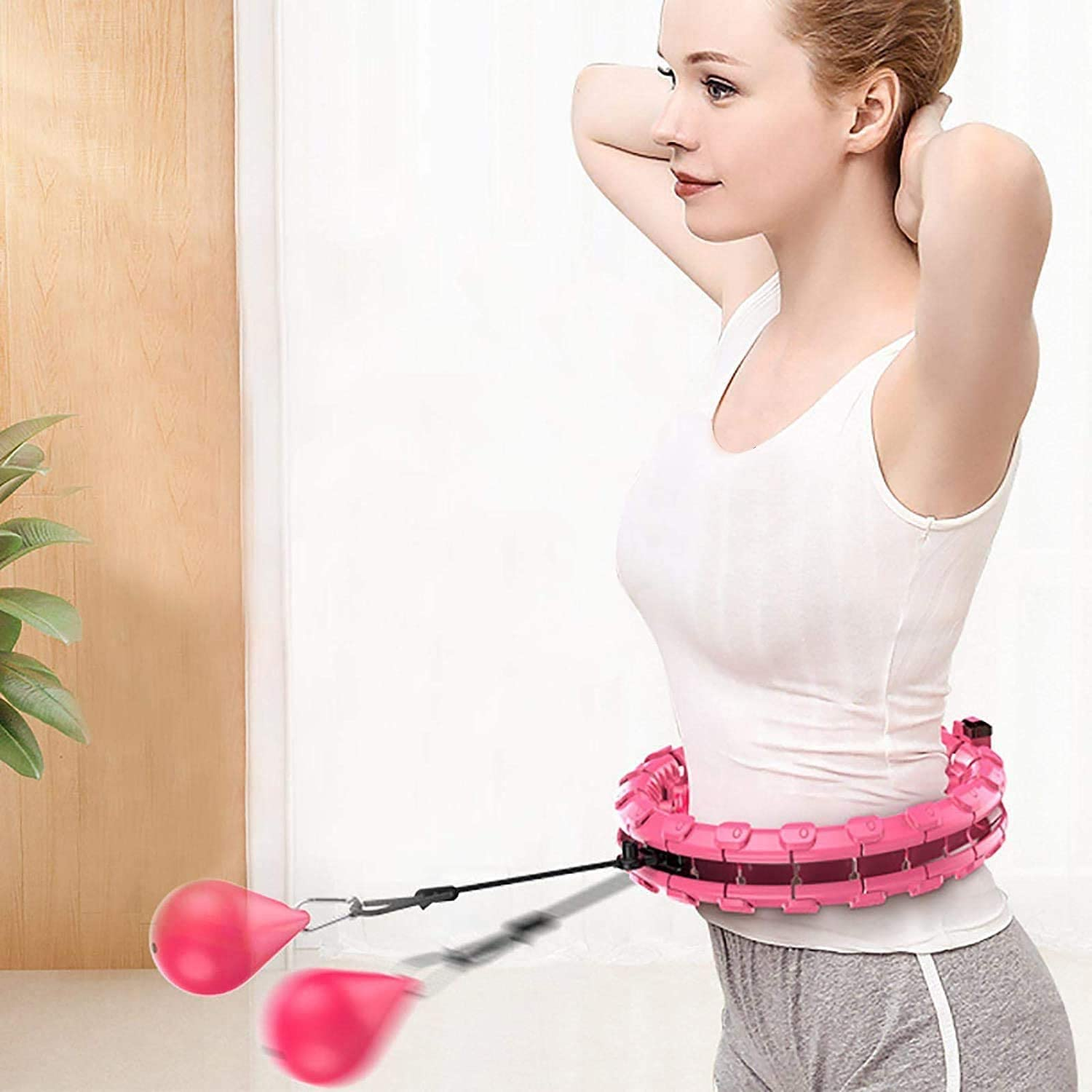 Red 2 in 1 Abdomen Fitness Weight Loss Massage Non-Fall Hoola Hoops 24 Detachable Knots Adjustable Weight Auto-Spinning Ball Weighted Smart Hula Hoop for Adults and Kids Exercising