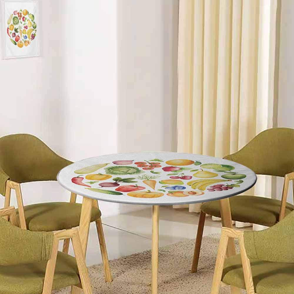 UNOSEKSHOME Vintage,Tabletop Decoration Fruits and Vegetables in Vintage Style Watercolor Art Display Clean Eating Buffet Decoration(Elastic Edged) White Green Yellow 47.5''-49.5'' Round