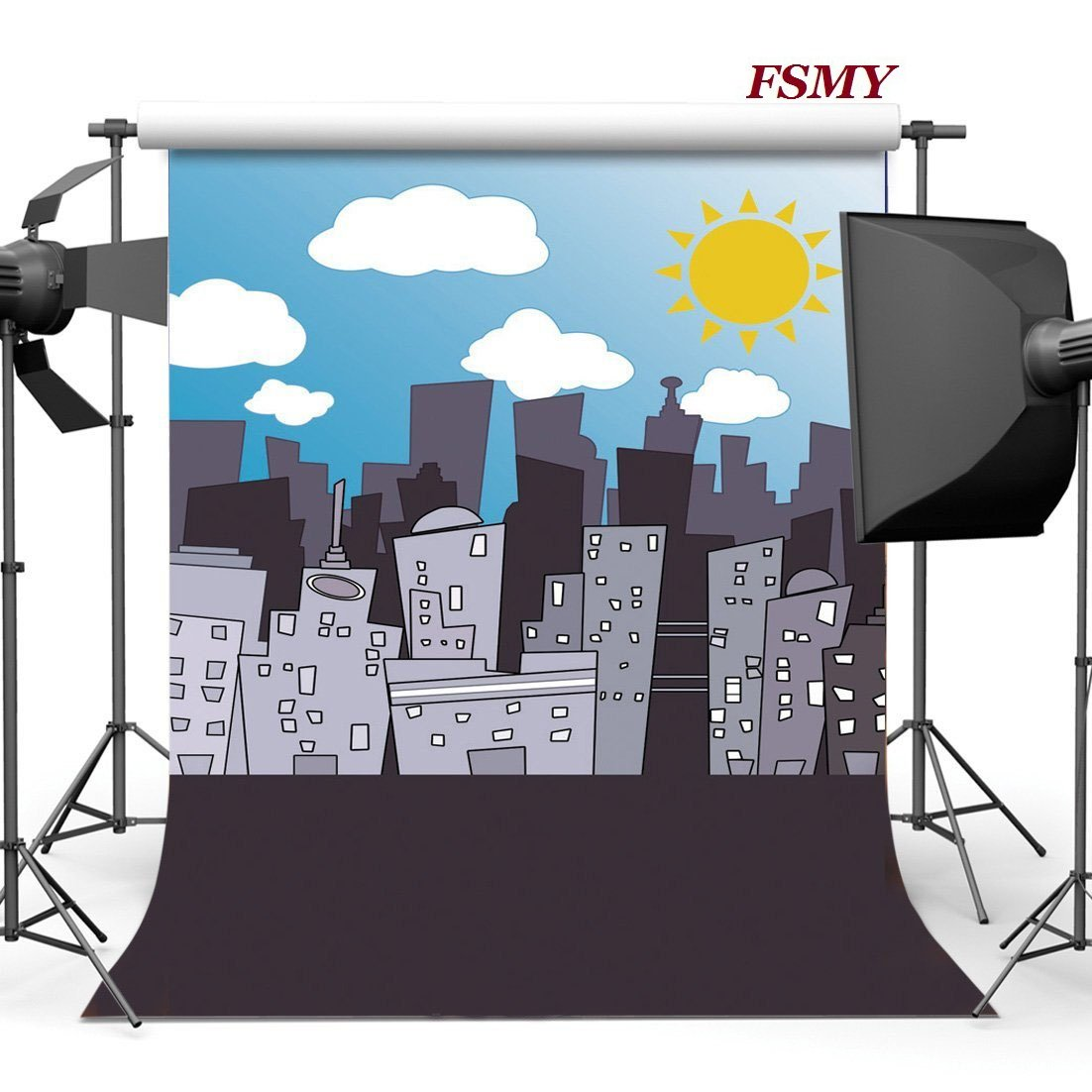 FSMY 7x5ft Superhero Themed Photography Backdrop, Customized Skyline Photo Background for Parties Studio Props(Color 3) FOSHAN CO.LTD CJYX7X5.