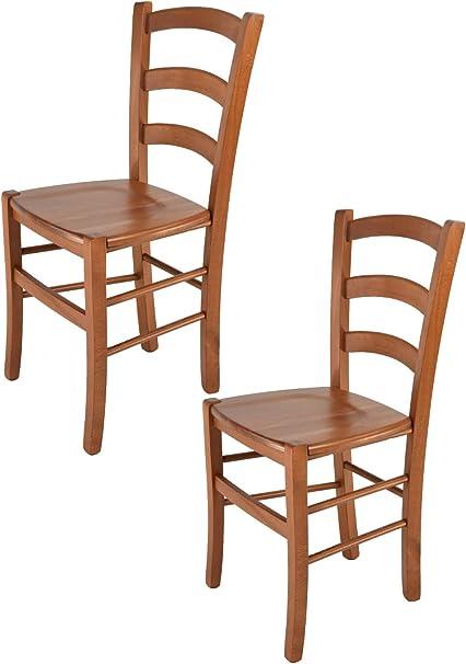 tmcs Tommychairs Set 2 sedie Modello Venice per Cucina e Sala da Pranzo, con Robusta Struttura in Legno di faggio Verniciata Color ciliegio e con