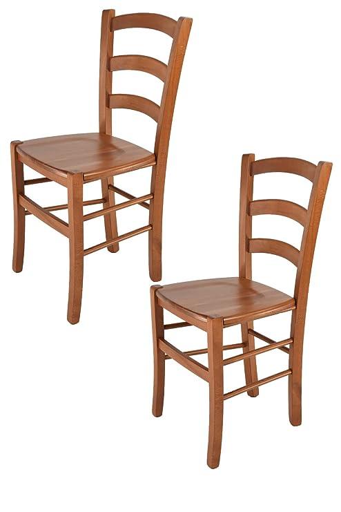 Sedie In Legno Ciliegio.Tommychairs Set 2 Sedie Modello Venice Per Cucina E Sala Da Pranzo