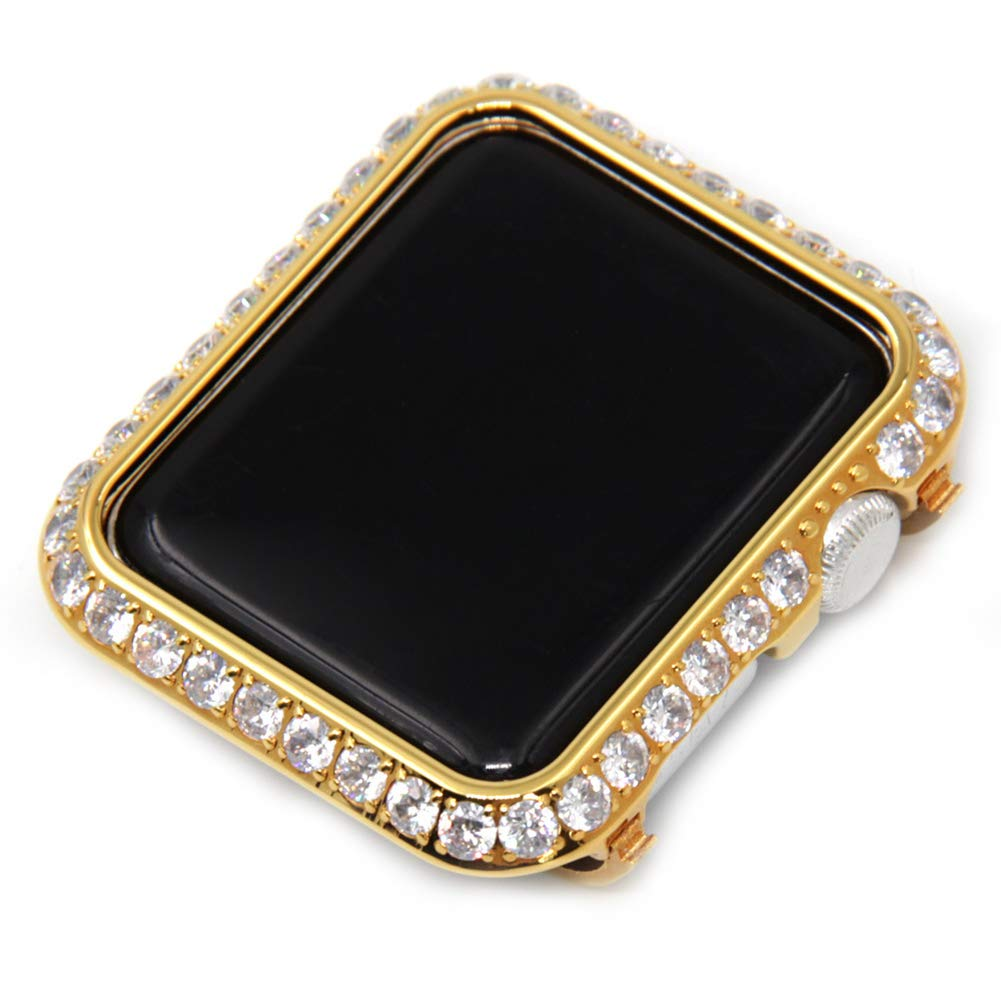 YALTOL Iwatch/Apple Watch Protection Frame with Rhinestone Diamond Metal Case Bezel for Apple Watch Series 4/3/2/1,Gold,38mm