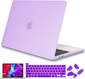 Mektron Laptop Case for MacBook Pro 13 inch 2020 Release Model A2289 A2251 Touch Bar & Touch ID, Plastic Hard Shell Cover with Keyboard Skin Screen Protector, Matte Purple