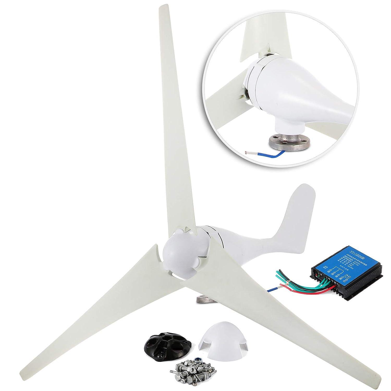 Happybuy Wind Turbine Generator 400W DC 12V Wind Turbine 3 Blade Low Wind Speed Starting NSK Bearings Garden Street Lights Wind Turbines with Charge Controller Garden