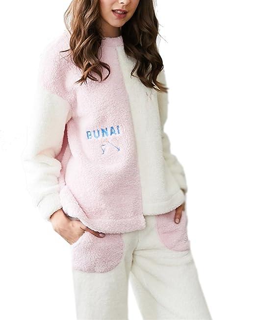 Mujer Pijamas Suave Cálido para Invierno Cómodo Conjunto Pijama: Amazon.es: Ropa y accesorios