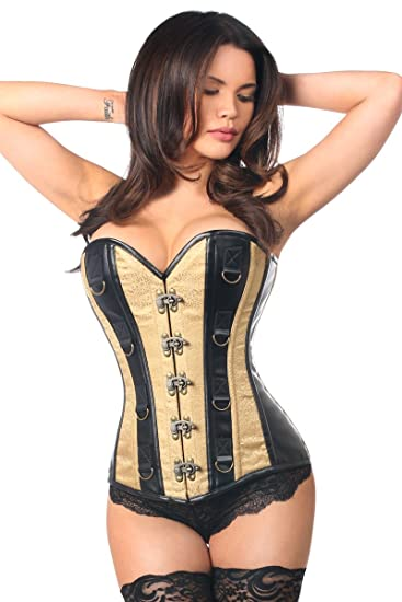 870e17c7ba8 Daisy corsets Womens Top Drawer Brocade   Faux Leather Steel Boned Corset  Top Drawer Brocade   Faux Leather Steel Boned Corset Corset  Amazon.co.uk   ...