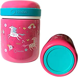 Kids Thermos for Hot Food Soup Lunch, Insulated Stainless Steel Wide Mouth Jar, Container for Girls Toddlers Day Care Pre-School, Leakproof Easy Grip Thermal Vacuum Seal 10 oz 300 ML Pink Teal Unicorn