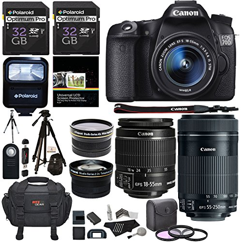Canon EOS 70D 20.2 MP AF Full HD 1080p DSLR Camera Bundle with EF-S 18-55mm f/3.5-5.6 IS STM