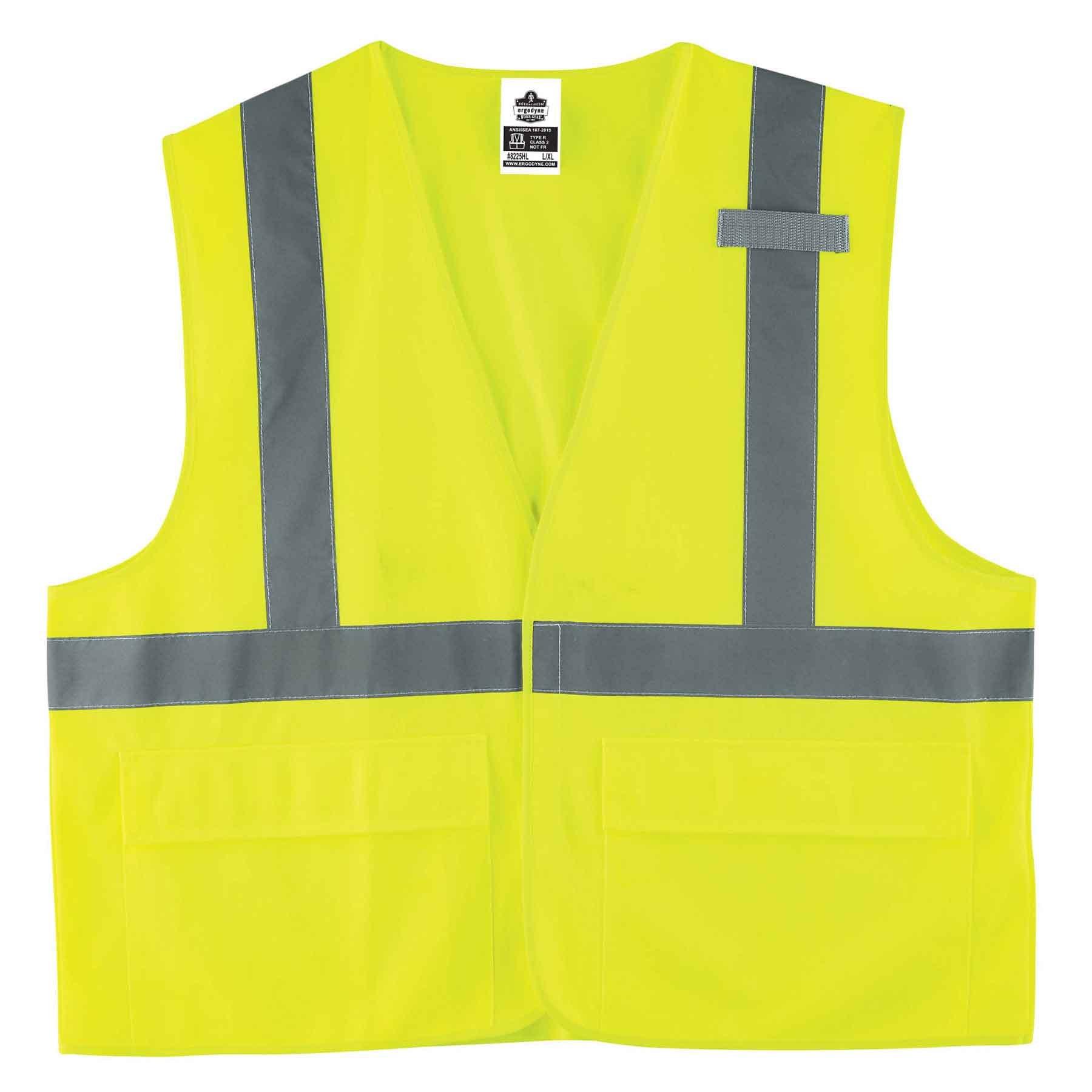 Ergodyne GloWear 8225HL ANSI High Visibility Lime Solid Reflective Safety Vest, Hook & Loop Closure, Large/X-Large