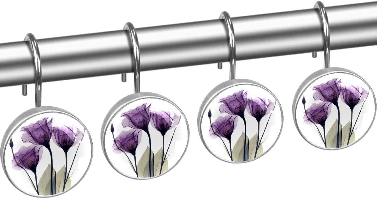 12 Pcs Elegant Tulip Purple Hope Flowers Shower Decorative Curtain Hooks Crystal Glass & Stainless Steel Hanger Rings Rust Resistant Shower Hooks for Bathroom Kids Room Living Bedrooom Home Decor