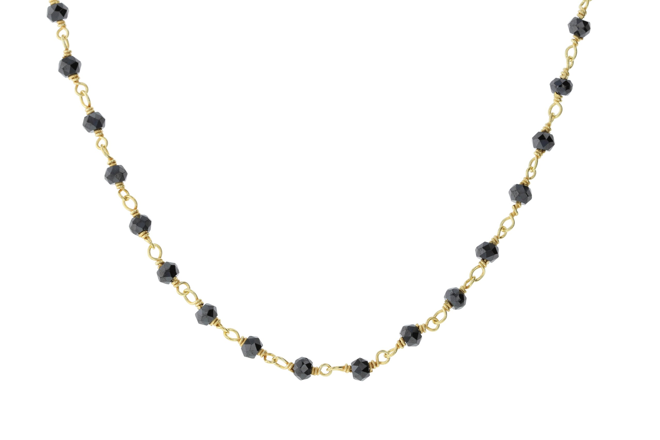 Gold-Tone Sterling Silver Wire Black Simulated CZ Bead Chain Link Handmade Rosary Bracelet Anklet 5 Inches