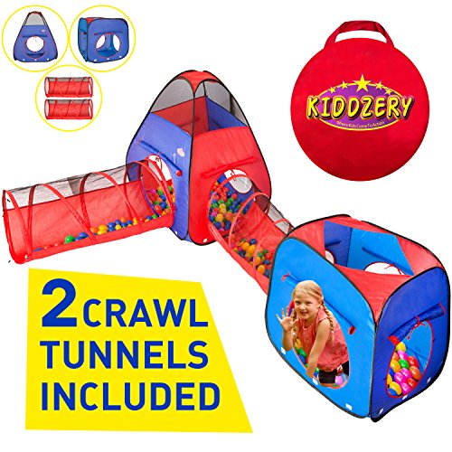 Kiddzery 4pc Kids Play tent Pop Up Ball Pit - 2 Tents + 2 Crawl Tunnels - Children Tent for Boys & Girls, Kids Toddlers & Baby, Large Playhouse For Indoor & Outdoor With Carrying Case, Great Gift Idea (4 Tunnel Piece)