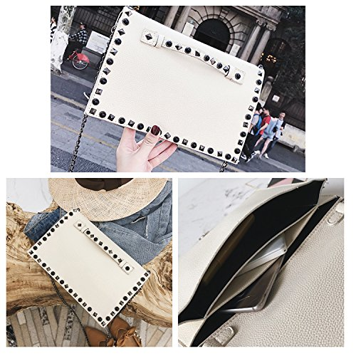 Rivet Fashion Shoulder Women NOTAG With Clutch Chain Strap Caual Envelope Travel Bag PU Bag Evening White Bag Leather 7tAqYw1