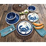 18 Piece Melamine Dinnerware Set Sealife Design (Cobalt Crab)