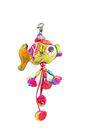 Amazon.com: Colorful Fish muñeca hecho a mano borla de Pom ...