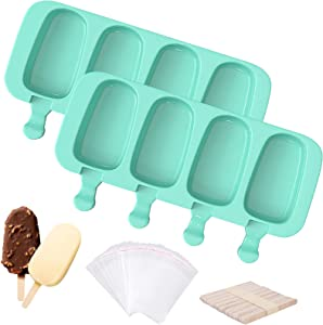Ouddy (Upgraded) Large 2 Pack Popsicle Molds, 8 Cavities Homemade Cakesicle Molds Silicone Cake Pop Mold with 50 Wooden Sticks & 30 Self-adhesive Bags for DIY Ice Popsicle - Green