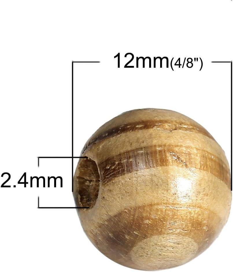 Caf/é Marr/ón Cebra para Manualidades SiAura Material 100/Unidades Cuentas de Madera 12/mm con 2,4/mm Agujero Redondo