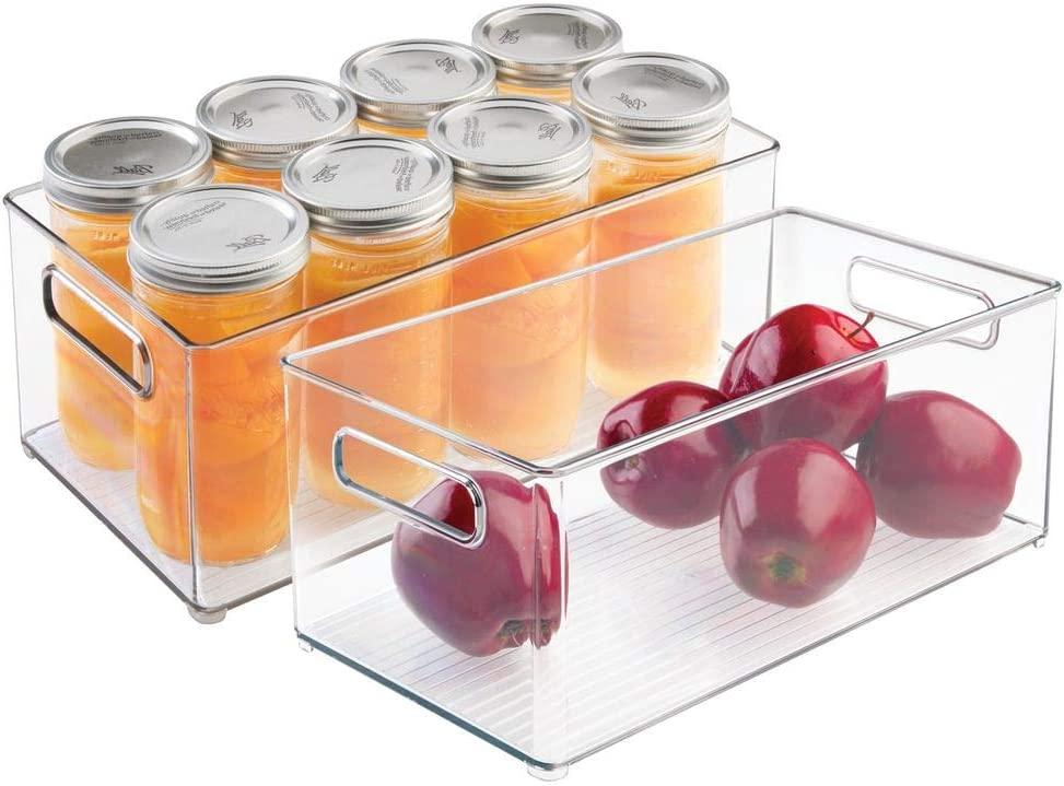 """mDesign Deep Plastic Kitchen Storage Organizer Container Bin with Handles for Pantry, Cabinets, Shelves, Refrigerator, Freezer - BPA Free - 14.5"""" Long, 2 Pack - Clear"""